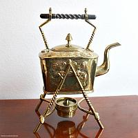 Antique Arts & Crafts Brass English Spirit Kettle and Stand
