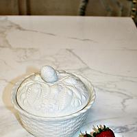 Antique Salt Glazed Stoneware Strawberry Covered Server