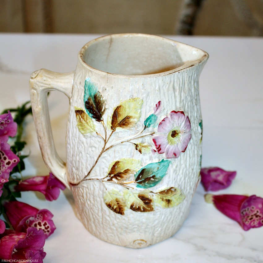 Early Antique Cream Tree Bark Apple Blossom Majolica Pitcher