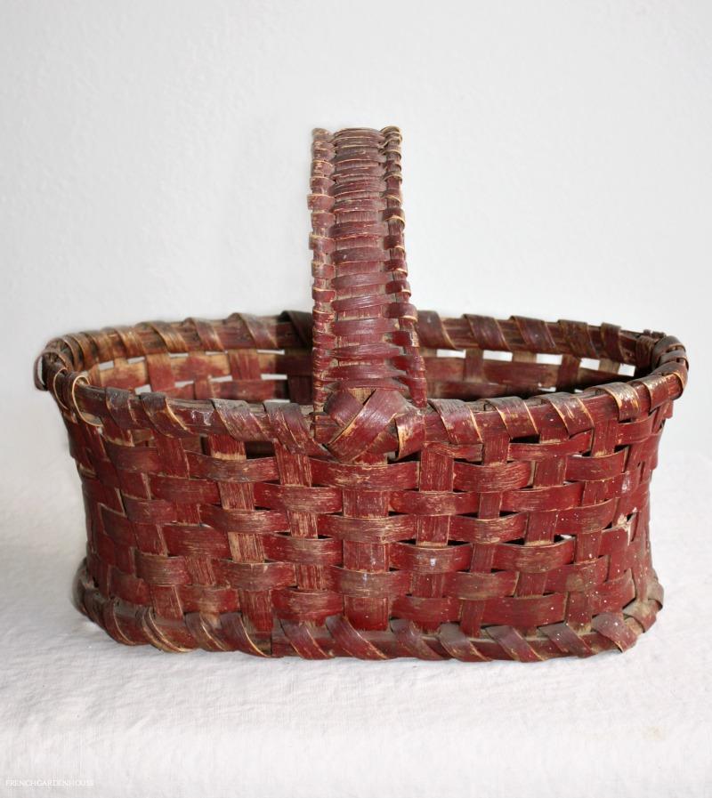 Antique 19th Century Hand Woven Splint Basket Original Deep Red Paint