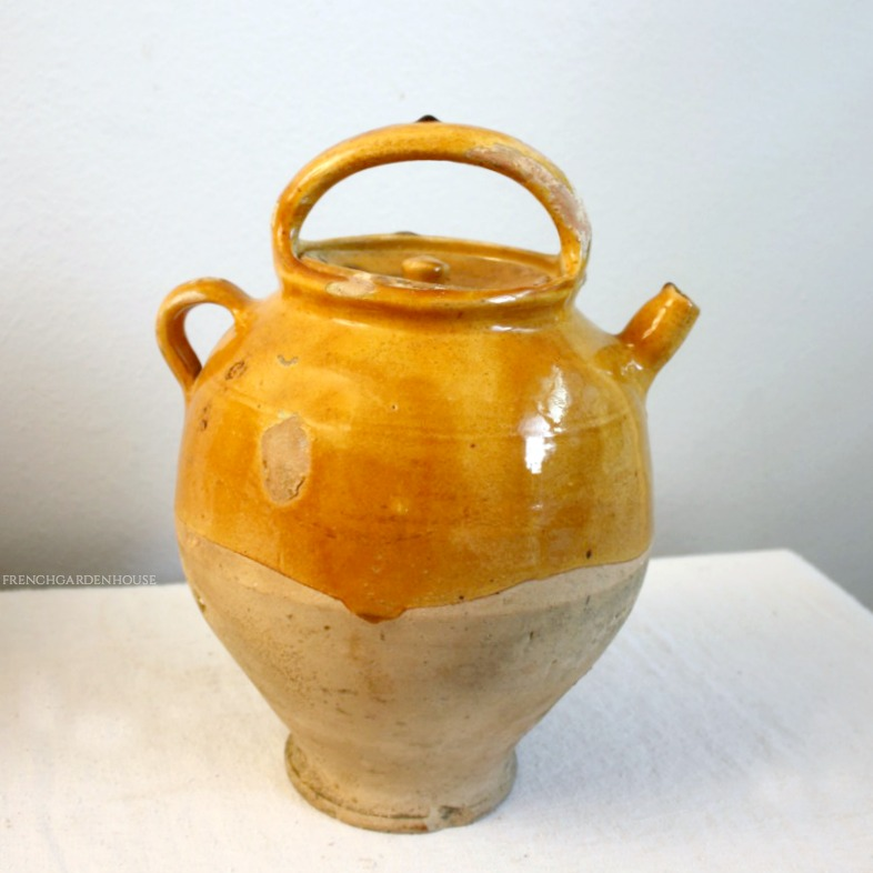 Antique French Glazed Terra Cotta Jug or Water Cruche