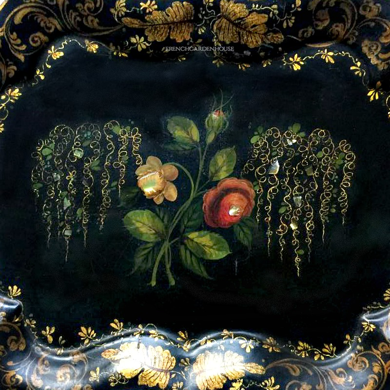 English 19th Century Gilt and Polychrome Toleware Painted Tray