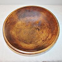 Antique Hand Turned Dark Wood Chopping Bowl