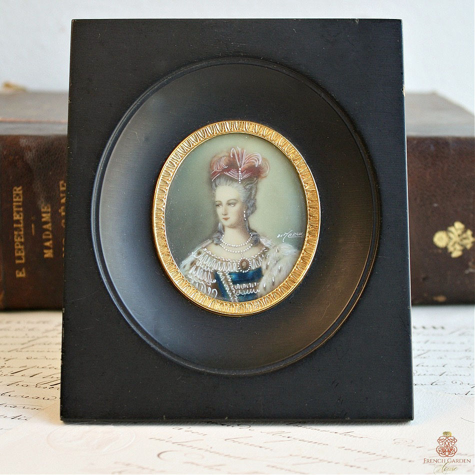 Antique French Miniature Hand Painted Lady Portrait Feathers