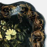 Antique Hand Painted Chippendale Tole Tray with Rose