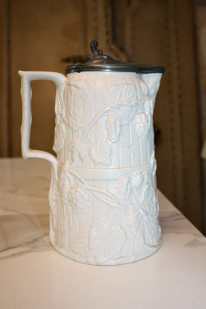 Antique Copeland Stoneware Jug or Pitcher Hops with Pewter Lid