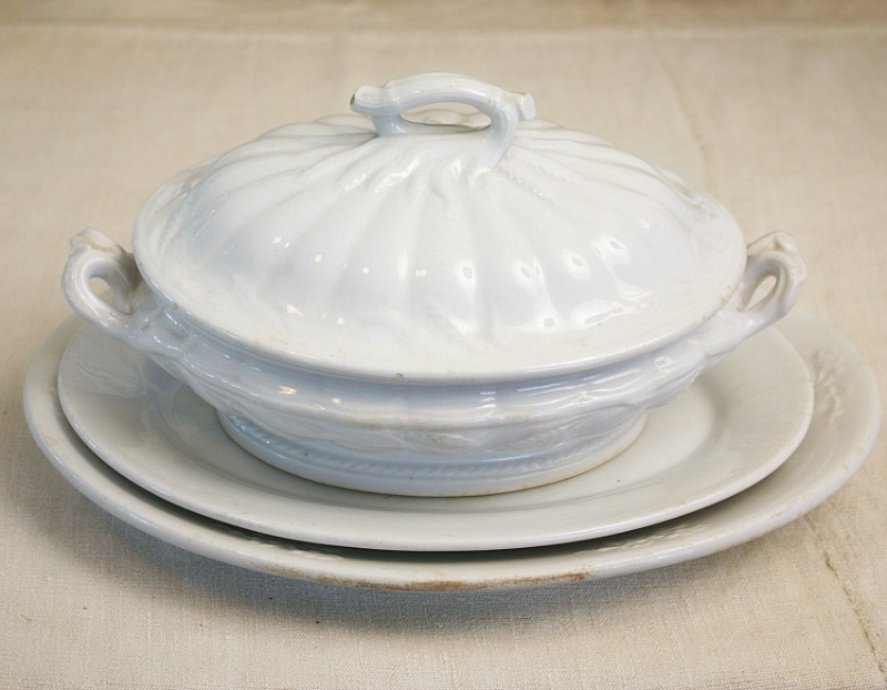 Antique 19th Century White Ironstone Tureen with Wheat Lid