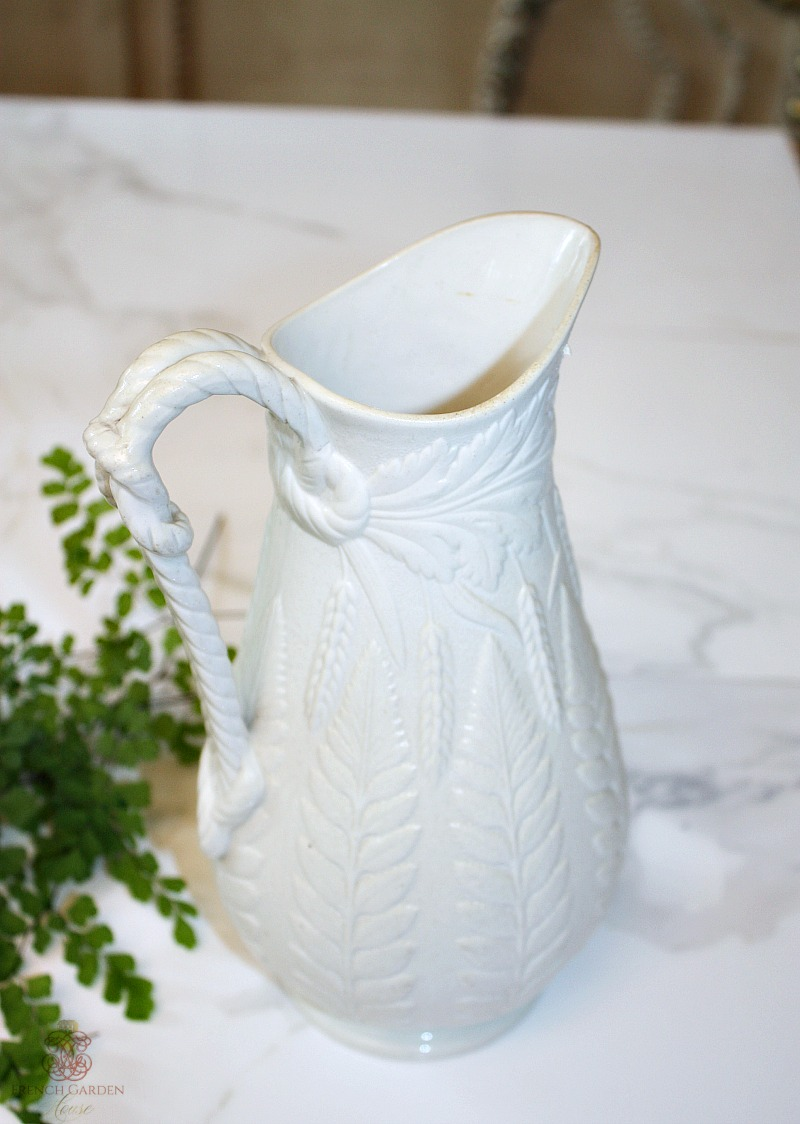 Antique Stoneware Pitcher with Ferns & Wheat