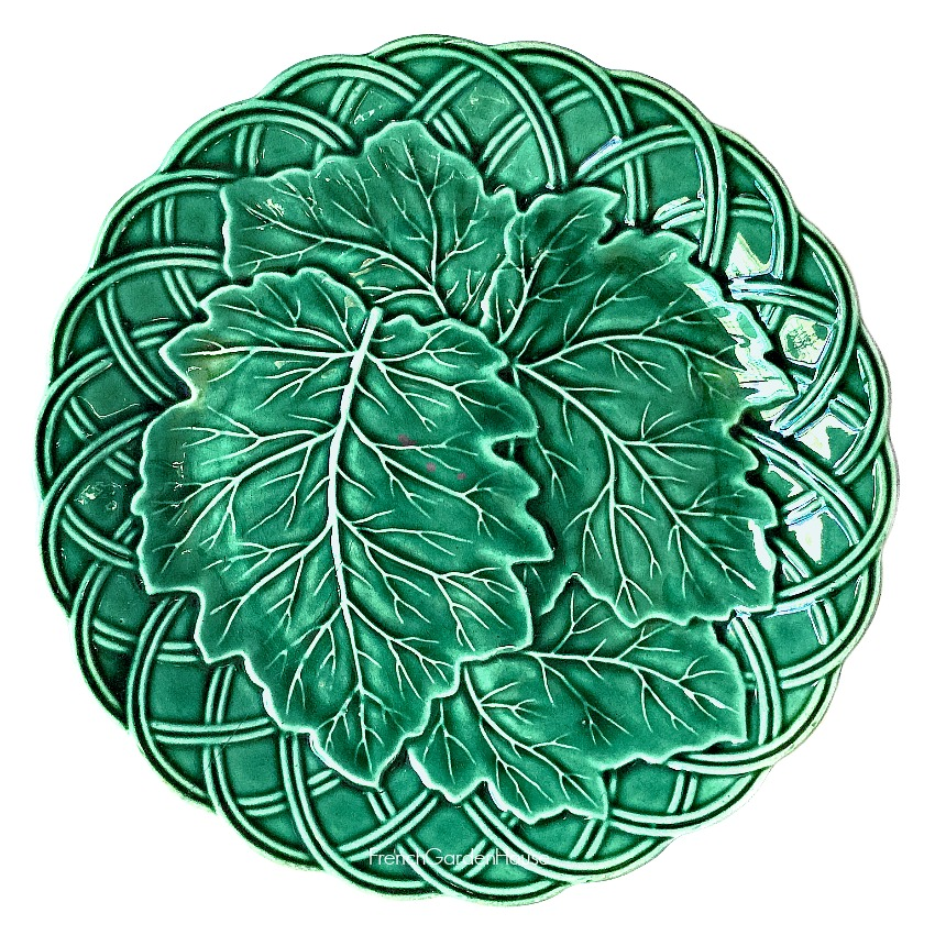 Antique 1800's Green Majolica Plate Leaves in Basket