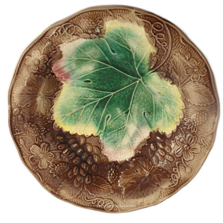 19th Century Antique Majolica Grape & Strawberry Plate