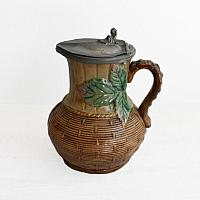 19th Century Majolica Milk Pitcher with Pewter Lid