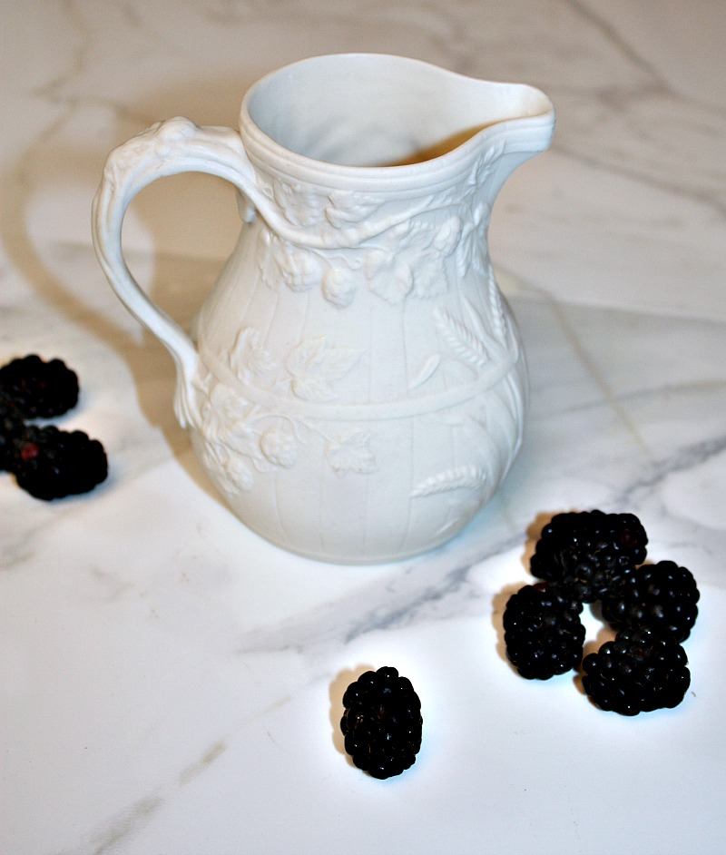 Antique Smear Glaze Blackberries and Wheat Jug
