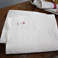 19th Century Hand Woven French Country Linen Towel C N