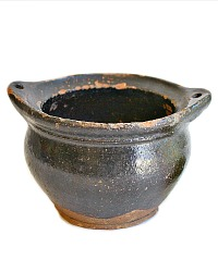 Antique French Country Pottery Pot Black