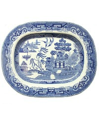19th Century English Staffordshire Blue and White Willow Platter