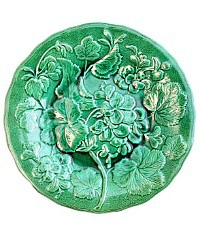 19th Century French Faience Green Geranium Blossom Leaf Plate