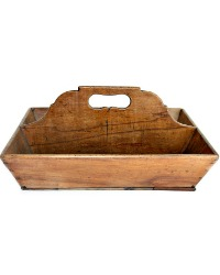 19th Century Antique Wood Hand Made Wood Carrier Silverware Tote