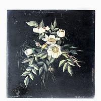 Antique French Oil Floral Painting Cream Flowers