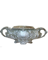 Antique French Rococo Revival Cast Iron Jardiniere Silver Medium