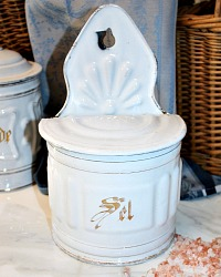 Antique French White And Gilt Enamel Salt Box