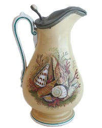 19th Century Prattware Seashell Ale Jug with Pewter Lid