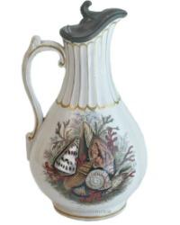 19th Century Prattware Seashell Ale Jug White