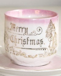 Antique Merry Christmas Pink & White Gilt Children's Tea Cup