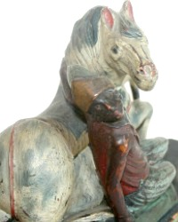 Antique Hand Carved Wood Horse with Rider