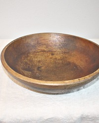 Antique Hand Made Dark Wood Chopping Bowl