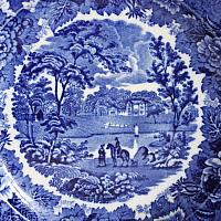 Antique English Wedgwood Cobalt Blue Scenic Plate