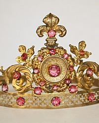 Antique 19th Century French Repousse Gilt Brass Tiara with Pink Faceted Cut Glass Stones and Fleur de Lis