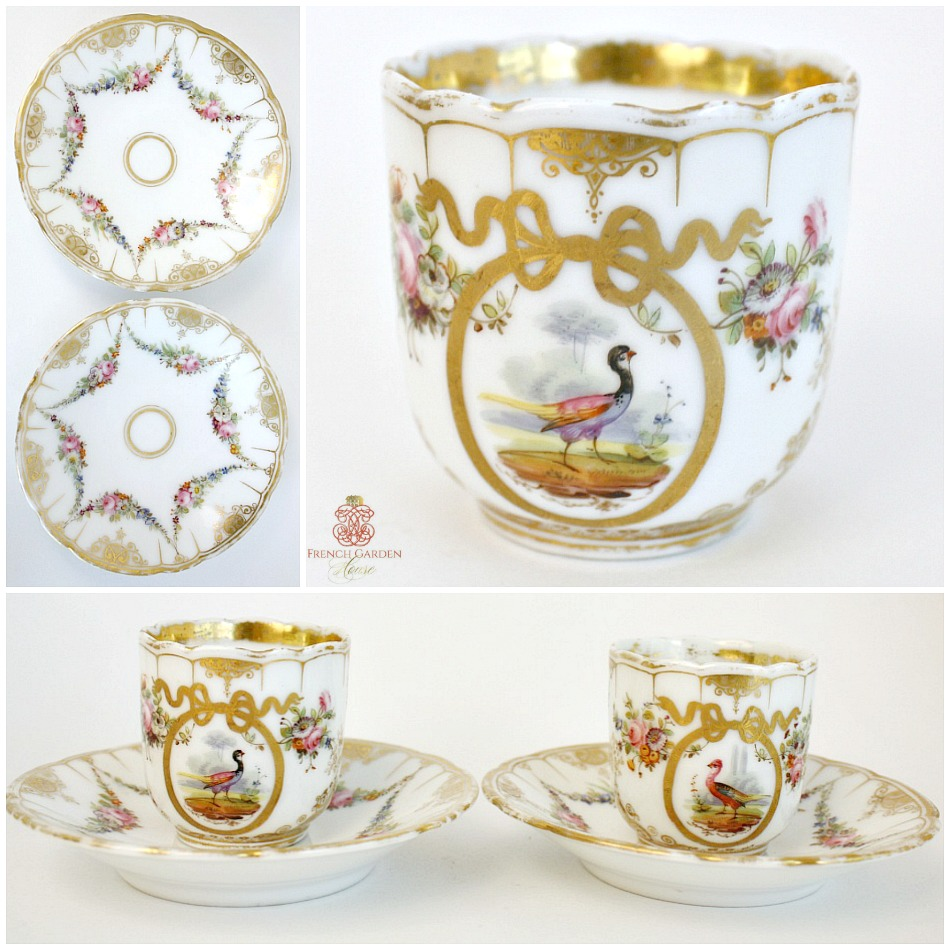 Antique French Hand Painted Demi Tasse Cup and Saucer Set of 2 Birds