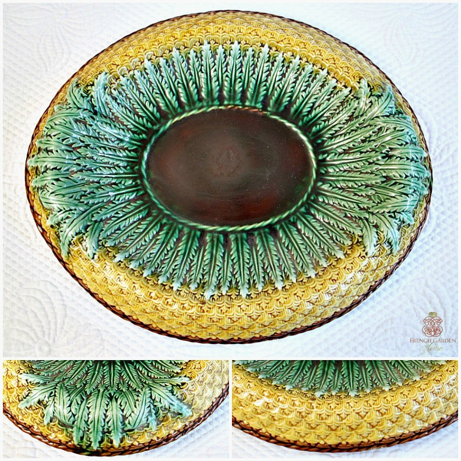 19th Century Majolica Pineapple Bowl with Brown Center