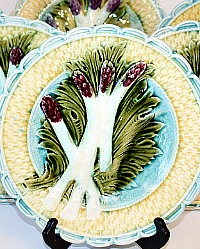 19th Century French Majolica Purple Asparagus Plates Set of 5