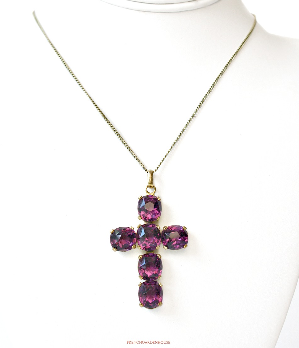 19th Century Heirloom Amethyst Purple and Gold Cross Necklace