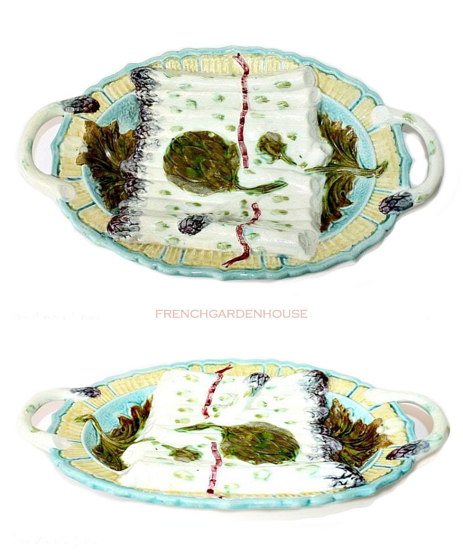 Rare 19th Century French Keller and Guerin Luneville Majolica Asparagus Plates and Barbotine Serving Platter