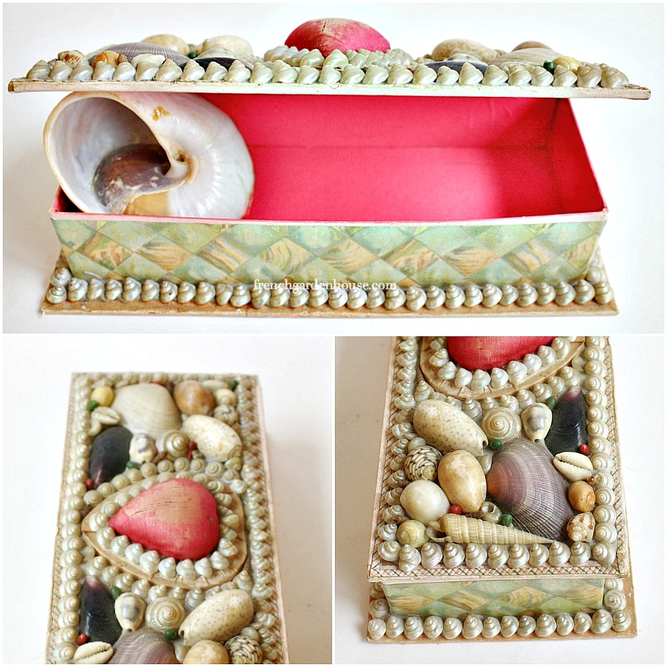 Antique Souvenir Shell Art Work Box Heart Pincushion