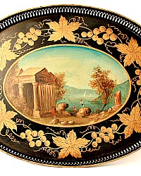 Exceptional 19th Century French Hand Painted Tole Tray Sea Scape