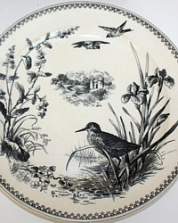 Antique 19th Century English Staffordshire Black Transferware Bird Plate