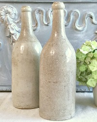Antique French Stoneware Wine Cider Bottles Set of 2