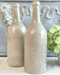 Antique French Stoneware Wine Cider Bottle