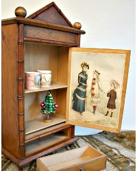 Antique French Faux Bamboo Doll Armoire