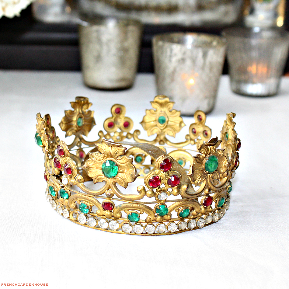 19th Century Gilt Brass Repousse Tiara Crown Colored Facet Cut Glass Jewels