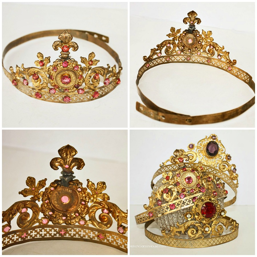 19th Century French Gilt Brass Tiara with Pink Faceted Cut Glass Stones and Fleur de Lis