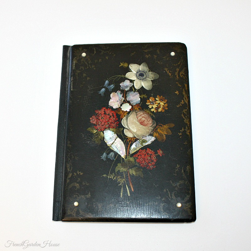 Antique Victorian English Hand Painted Papier Mache Blotter Folio MOP Rose