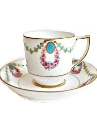Antique Estate Enameled Royal Crown Derby Demitasse Cup & Saucer 1896