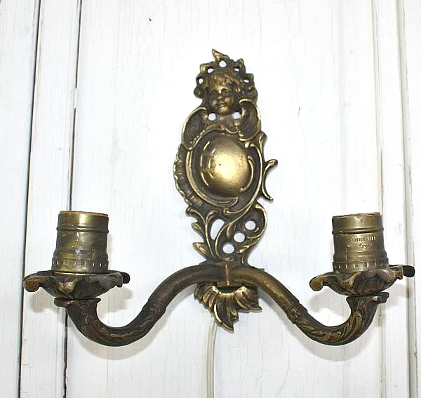 Antique French Single Cherub Two Light Wall Sconce