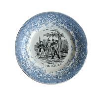Antique French Creil et Montereau Faience Plates Set of 4 Military