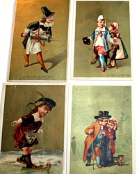 Set 4 Antique French Trade Cards Children