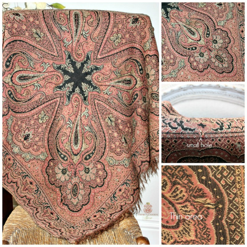 Antique French Victorian Paisley Country Woven Shawl